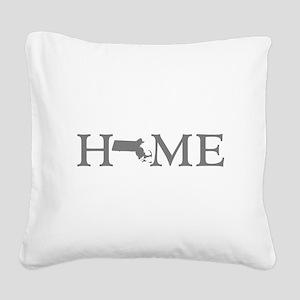 Massachusetts Home Square Canvas Pillow