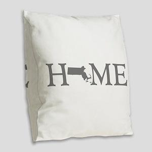 Massachusetts Home Burlap Throw Pillow