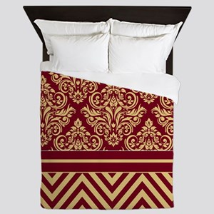 Damask Chevron Queen Duvet Burgundy Sand