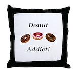 Donut Addict Throw Pillow