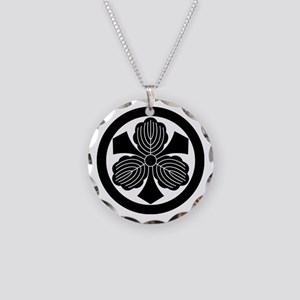Three oak leaves with swords Necklace Circle Charm