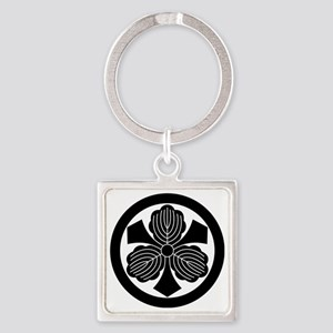 Three oak leaves with swords Square Keychain