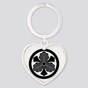 Three oak leaves with swords Heart Keychain