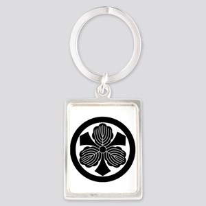 Three oak leaves with swords Portrait Keychain