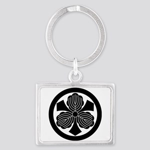 Three oak leaves with swords Landscape Keychain