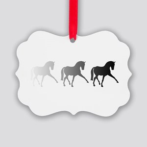Dressage Horse Sidepass Ombre Picture Ornament
