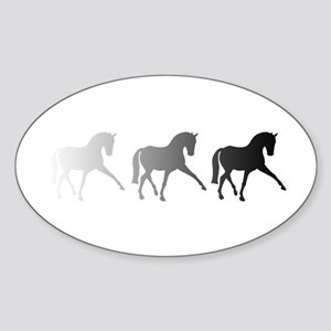 Dressage Horse Sidepass Ombre Sticker (Oval)