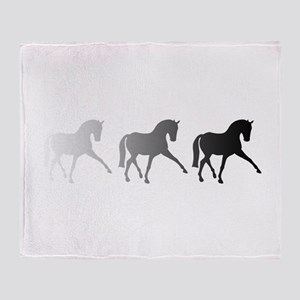 Dressage Horse Sidepass Ombre Throw Blanket