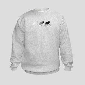 Dressage Horse Sidepass Ombre Kids Sweatshirt