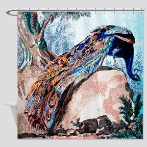 Peacock On Rock Shower Curtain