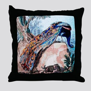 Peacock on Rock Throw Pillow