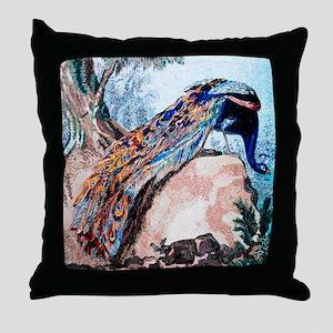 Peacock on Rock Throw Pillow