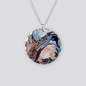 Peacock on Rock Necklace Circle Charm