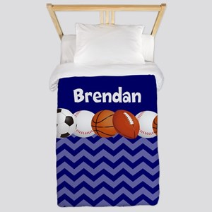 Sports Blue Personalized Twin Duvet