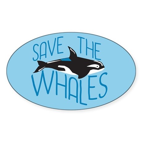 Save the Whales Sticker (Oval)