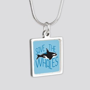 Save the Whales Silver Square Necklace