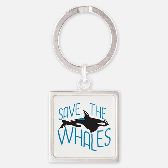 Save the Whales Square Keychain
