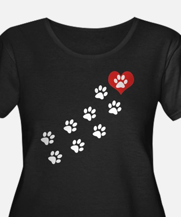 Paw Prints To My Heart Plus Size T-Shirt