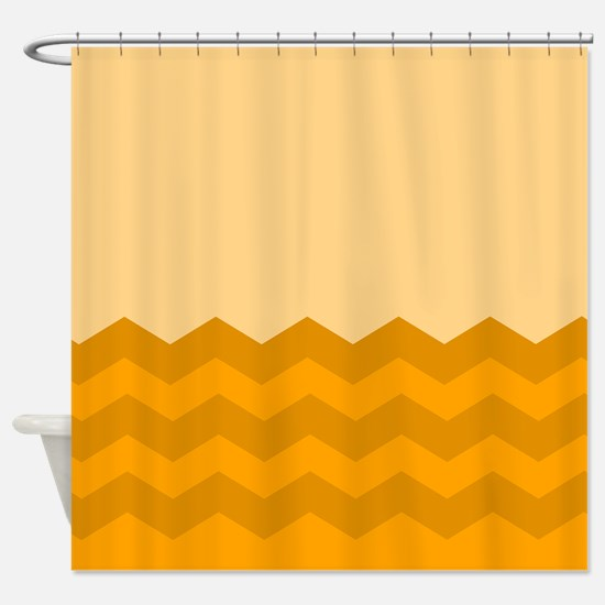 Chevrons In Orange Shower Curtain