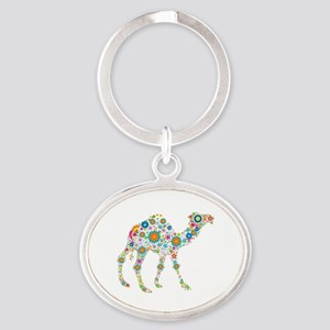 Colorful Retro Flowers Camel Oval Keychain