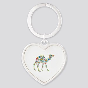 Colorful Retro Flowers Camel Heart Keychain