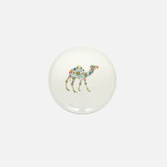 Colorful Retro Flowers Camel Mini Button