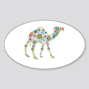 Colorful Retro Flowers Camel Sticker (Oval)