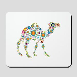 Colorful Retro Flowers Camel Mousepad