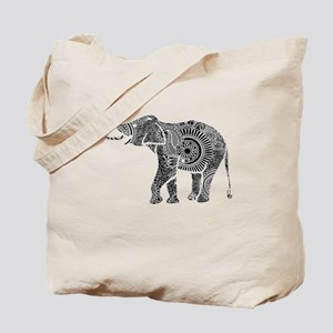 Black And White Ornate Floral Elephant Tote Bag