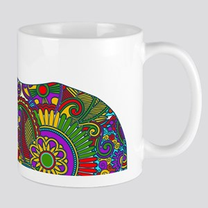 Cute Retro Colorful Floral Elephant Mug