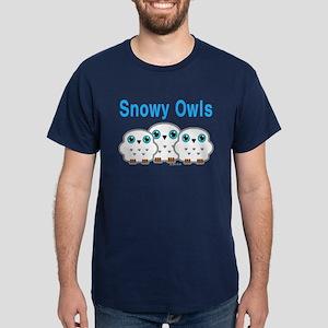 Three Snowy Owls Dark T-Shirt