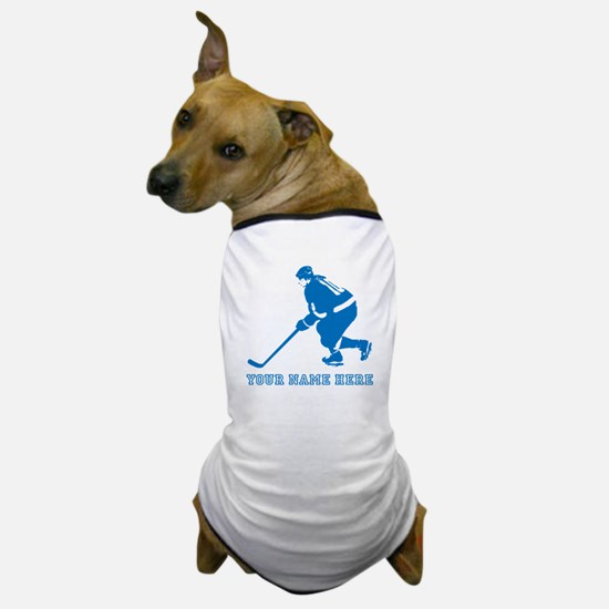 Custom Blue Hockey Player Dog T-Shirt