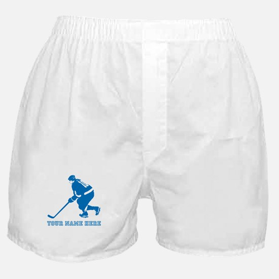 Custom Blue Hockey Player Boxer Shorts