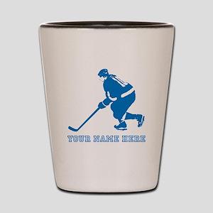 Custom Blue Hockey Player Shot Glass
