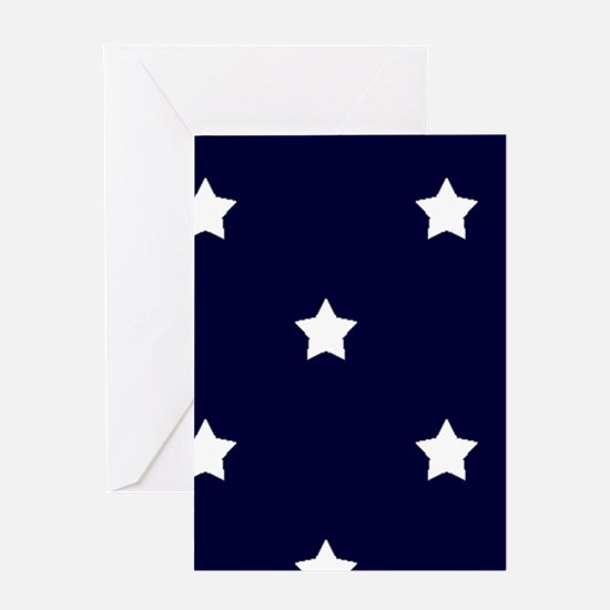 White Stars on Navy Blue Greeting Cards