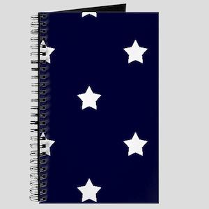 White Stars on Navy Blue Journal