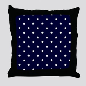 White Stars on Navy Blue Throw Pillow