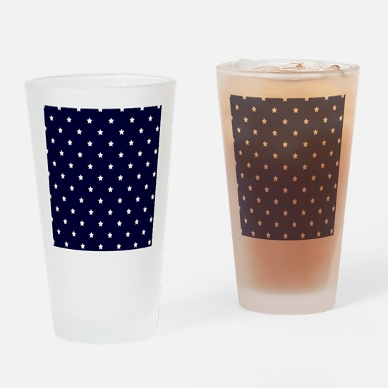 White Stars on Navy Blue Drinking Glass