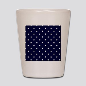 White Stars on Navy Blue Shot Glass