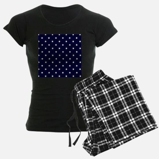 White Stars on Navy Blue Pajamas