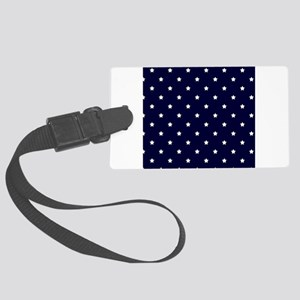 White Stars on Navy Blue Luggage Tag