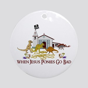 Jesus Ponies Ornament (Round)