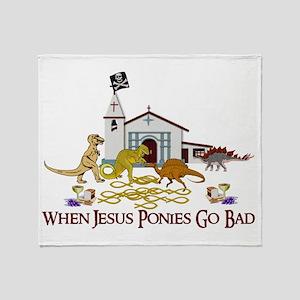 Jesus Ponies Throw Blanket
