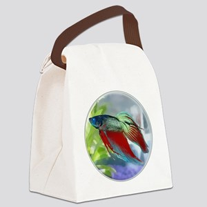 Colorful Betta Fish in a Bubble Canvas Lunch Bag