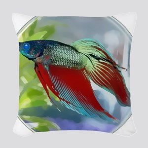 Colorful Betta Fish in a Bubble Woven Throw Pillow