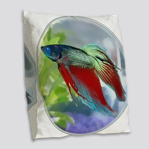 Colorful Betta Fish in a Bubble Burlap Throw Pillo