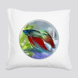 Colorful Betta Fish in a Bubble Square Canvas Pill