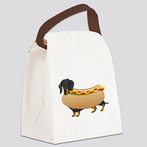 Black Weiner Dog with all the Fixings Canvas Lunch