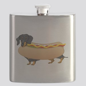 Black Weiner Dog with all the Fixings Flask