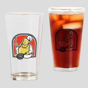 Fat Happy Buddha Chef Cook Cartoon Drinking Glass
